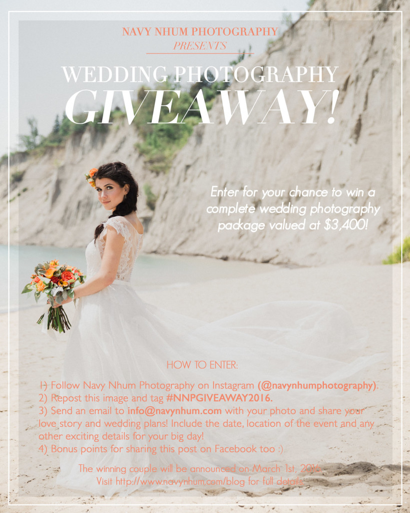 wedding photography giveaway, contest, toronto wedding photographer